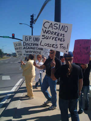 gulf of mexico oil spill casino workers protest