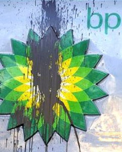BP Gas station paint defaced