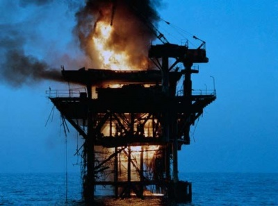 burning offshore oil rig